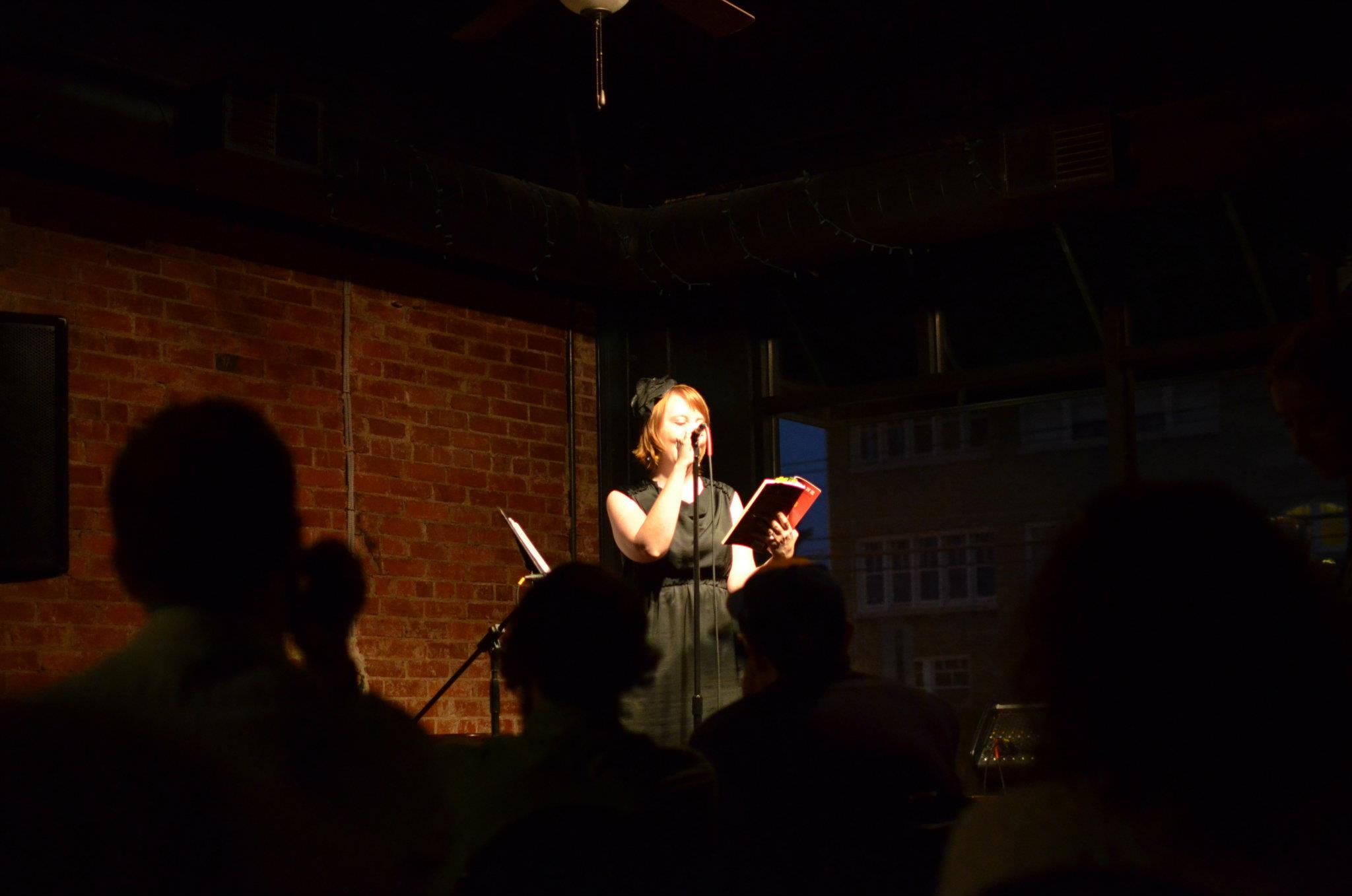 Erin reading at the InKY Reading Series in Louisville, Kentucky, 2011.